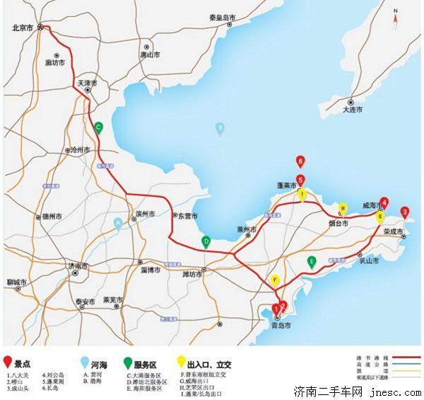 沿211省道北行15公里到蓬莱市区
